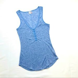 Intimately Free People Blue Button Tank Top